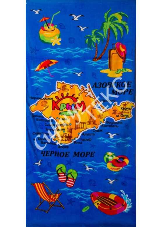 Полотенце пляжное велюровое (КРЫМ).