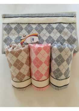 Полотенце махровое «Ромбы» ручное