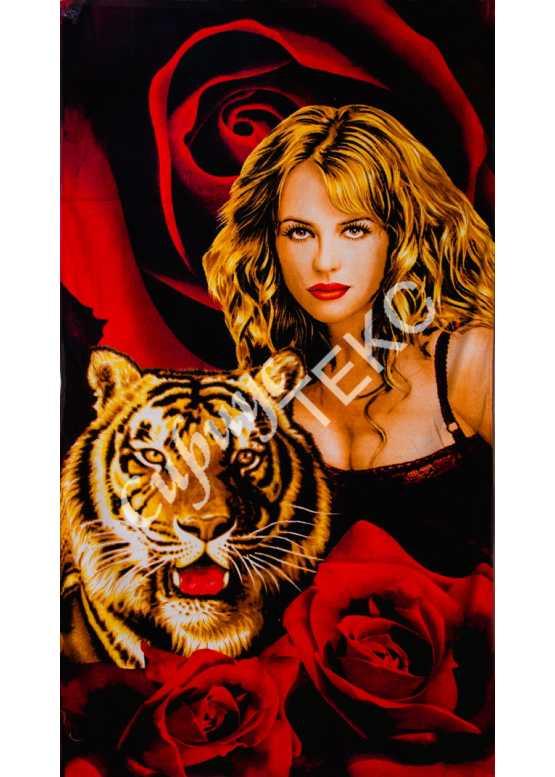 Полотенце пляжное велюровое 140-70 (девушка с тигром)